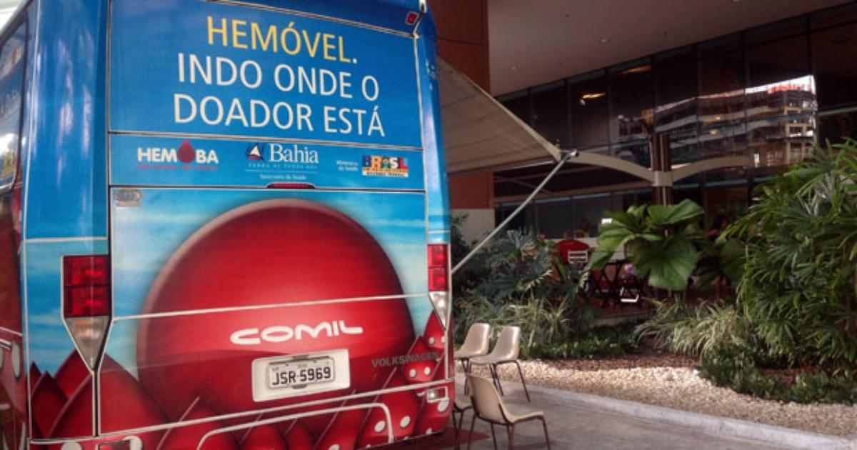 Unidades móveis da Hemoba fazem coleta em Salvador e Feira