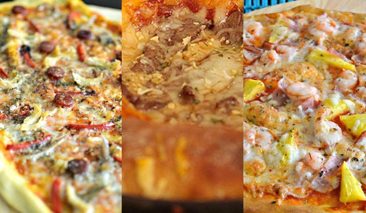 Receita de massa simples de pizza com mais três recheios deliciosos