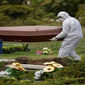 Vítima de Covid-19 sendo Enterrada
